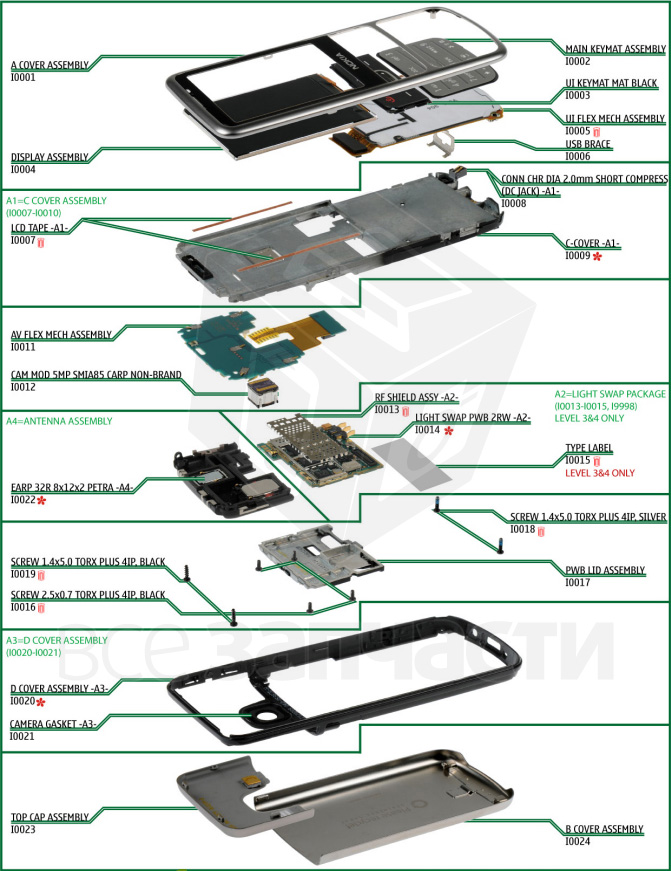 Spares for Nokia 6700 classic cell phone. Disassembling ...