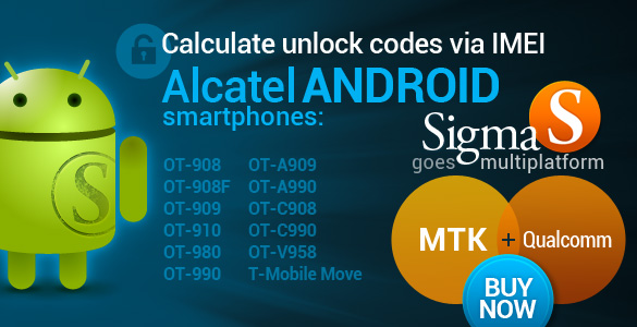 Sigma - Unlock Code Calculation via IMEI for Alcatel smartphones on Qualcomm with Android OS