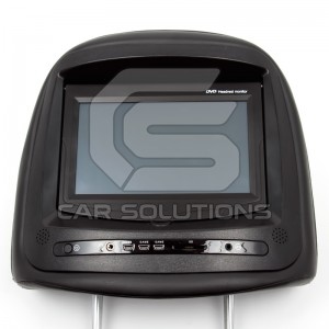 Headrest with touch screen monitor and DVD player