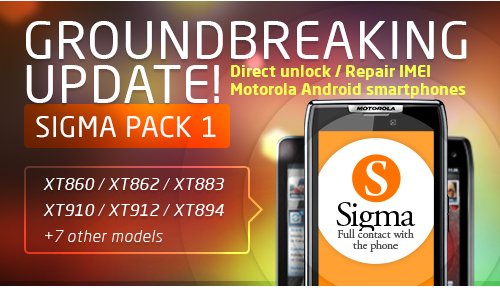 Sigma Pack 1 - Direct Unlock and Repair IMEI for Motorola Android smartphones