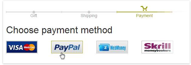 How to Shop: payment method selection