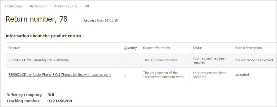 View the status of each item from your return request