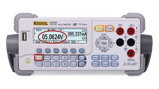DMM settings for measuring DCV