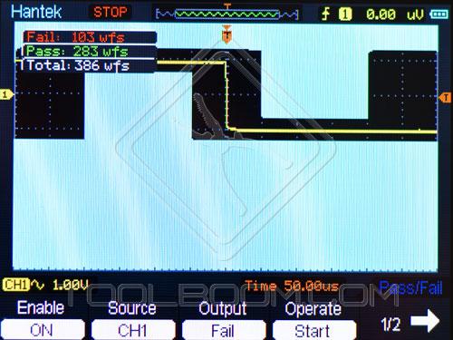 Pass/Fail Menu of Hantek DSO1060 Handheld Oscilloscope