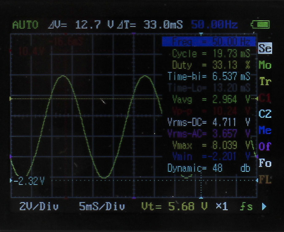 DSO Nano DSO201 Pocket Oscilloscope Menu