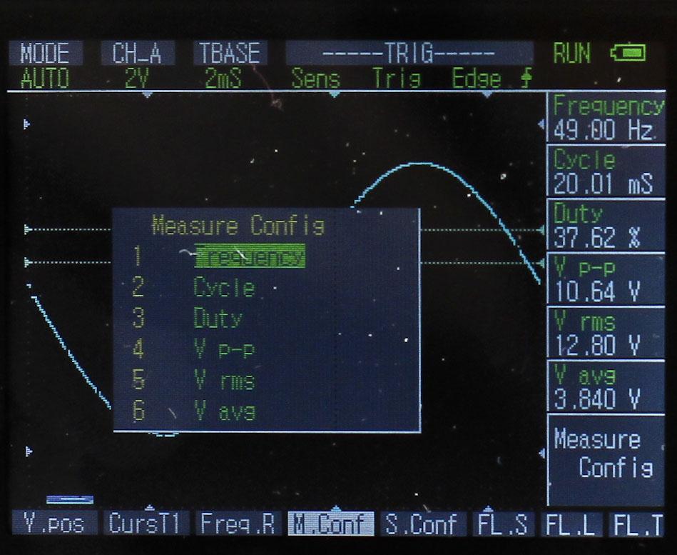 Menu of DSO Nano DSO201 LIB V2.2 Firmware