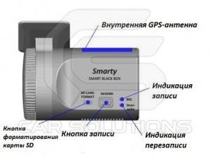 Видеорегистратор Smarty BX1500. Вид сзади