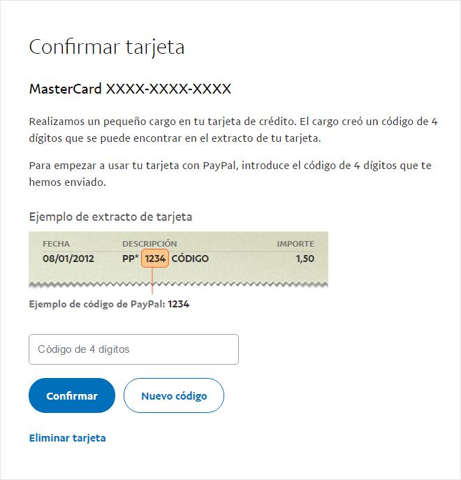 Código de verificación de  Pay Pal