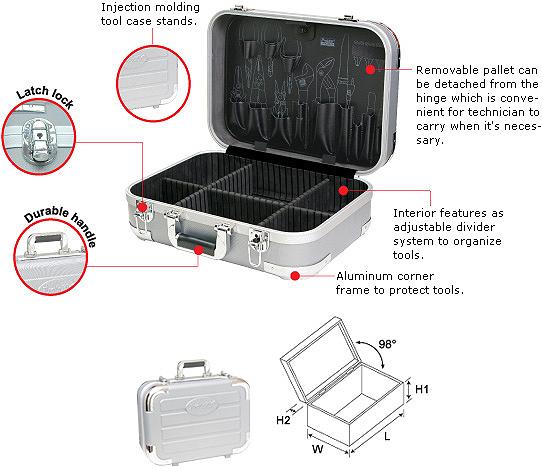 Кейс Pro'sKit TC-2009 из твердого пластика с перегородкой