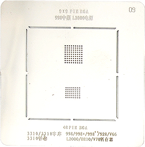 BGA-трафарет 998 MF/L2000 UEM 3310/3210 FLASH 998/V66/V70 RAM