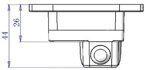 Dimensions of Rear View Camera for Mitsubishi Lancer