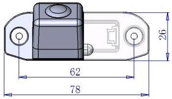 Dimensions of Car Rear View Camera for Volvo