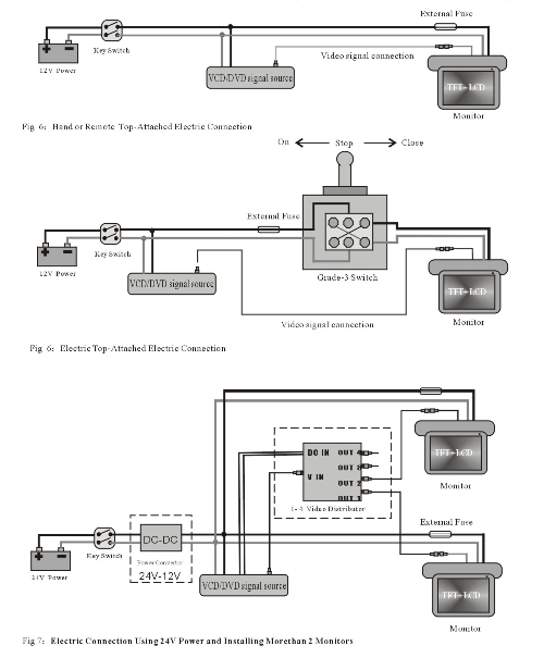 Flip-down monitor connection diagram