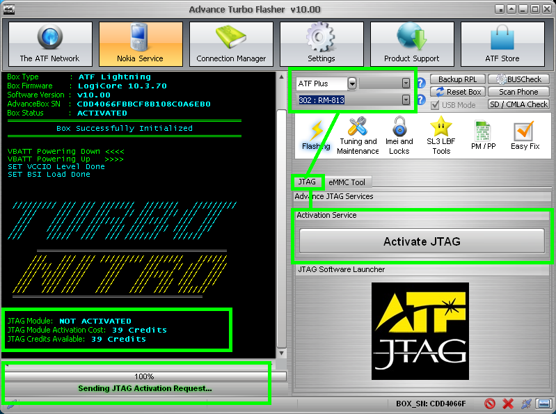 Choose JTAG tab below and hit 'Activate JTAG