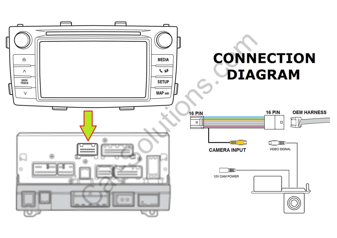 Details about Cable to Connect Rear View Camera in Toyota Touch Scion on