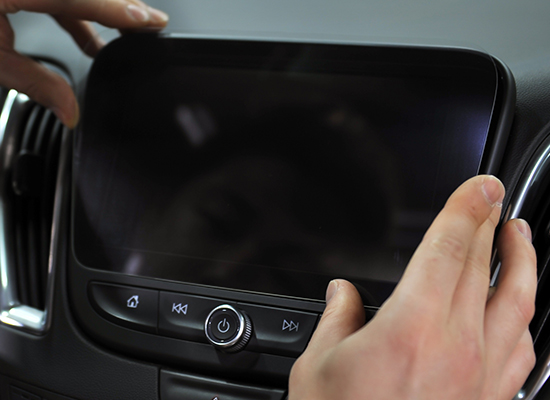 Protective glass for touch screen panels of Chevrolet cars in use