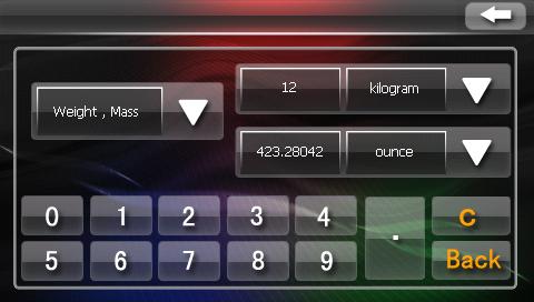 Конвертер единиц измерения в автомобильном навигаторе Navi N43 BT