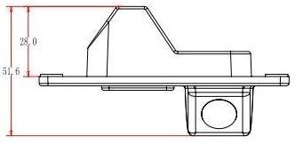 Dimensions of Rear View Camera for Mitsubishi Pajero