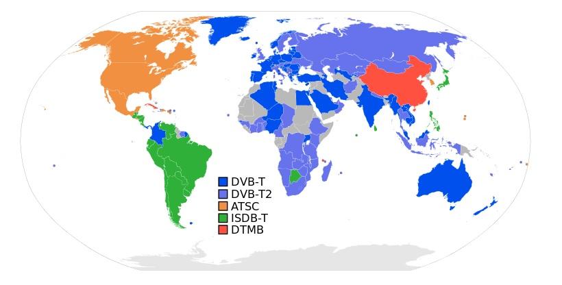 Various Digital TV Formats Coverage Map