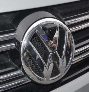 Front view camera installation in Volkswagen badge