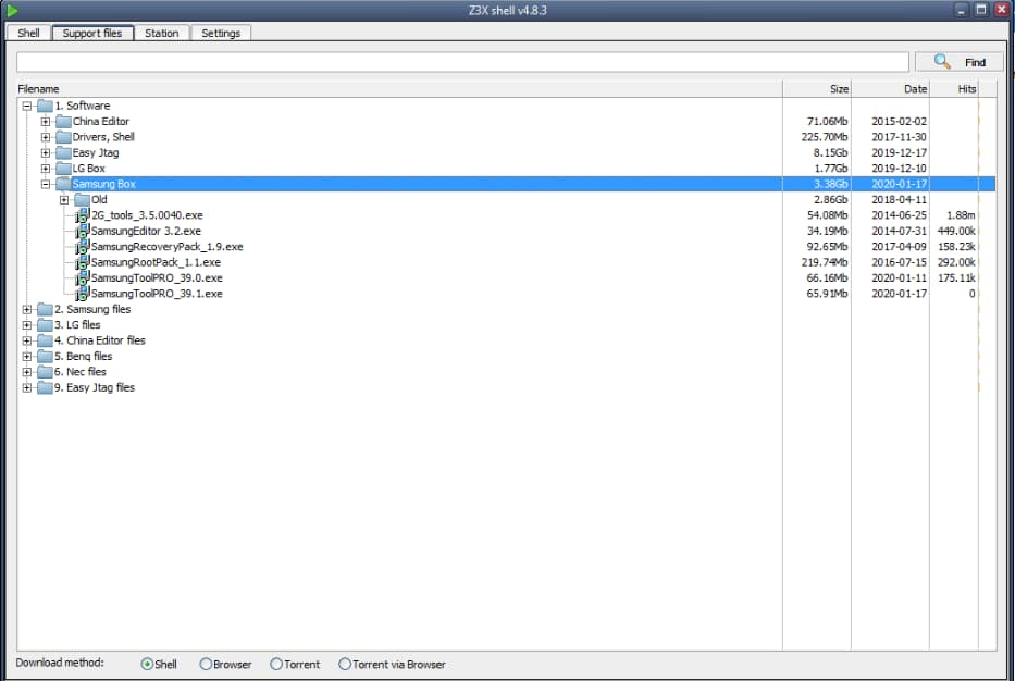Z3X Shell software window looks like this
